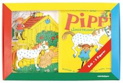 Känner du Pippi Långstrump? : Bok med tre leksaksfigurer